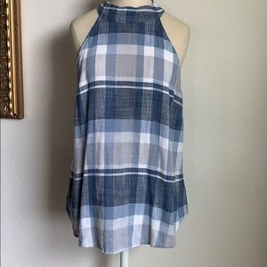 Cloth and stone plaid mock neck linen top